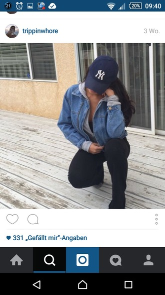 jacket ny hat snapback new york city denim jacket blue jean jacket grey hoodie black pants swag urban