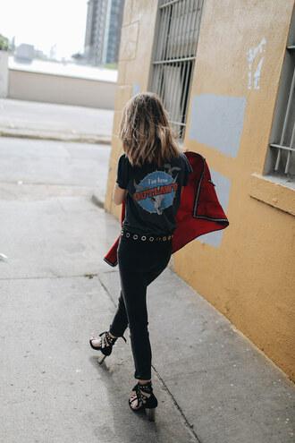 shoes black jeans tumblr sandals sandal heels high heel sandals denim jeans t-shirt graphic tee jacket belt