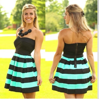 dress striped dress teal and black teal