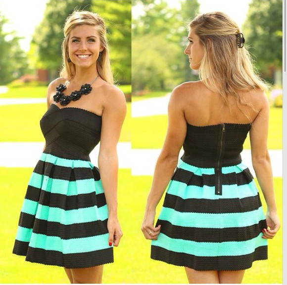 striped dress dress teal and black teal