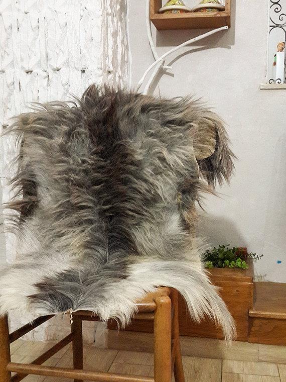 Genuine Grey Black Goatskin Rug For Cosy Scandinavian