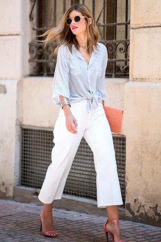 le fashion image blogger sunglasses bag button up white pants wide-leg pants