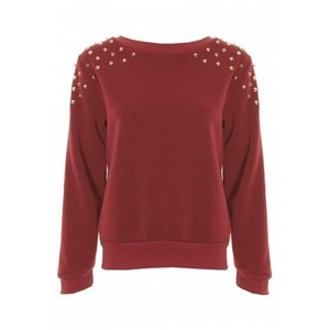 Wine gold studded jersey sweater jumper