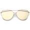 Oversize thin cross brow mirrored flat lens sunglasses a545