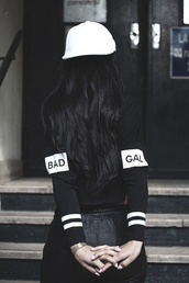 sweater,white hat,black and white,bad gal,top,t-shirt,nyct clothing,pocket t-shirt,graphic tee,sorry i'm not listening,long sleeves,black