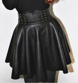 skirt fashion style sexy faux leather trendy studs hot grunge black rosegal-dec