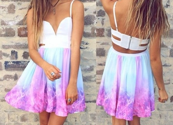tie dye dress dress tie dye galaxy pattern candy floss bralette ombre summer outfits pink pink dress summerdress beach clothes style blue dress pastel colorful cute rainbow