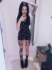 shorts,black,white,polka dots,overalls,dungarees,black and white,pokadots