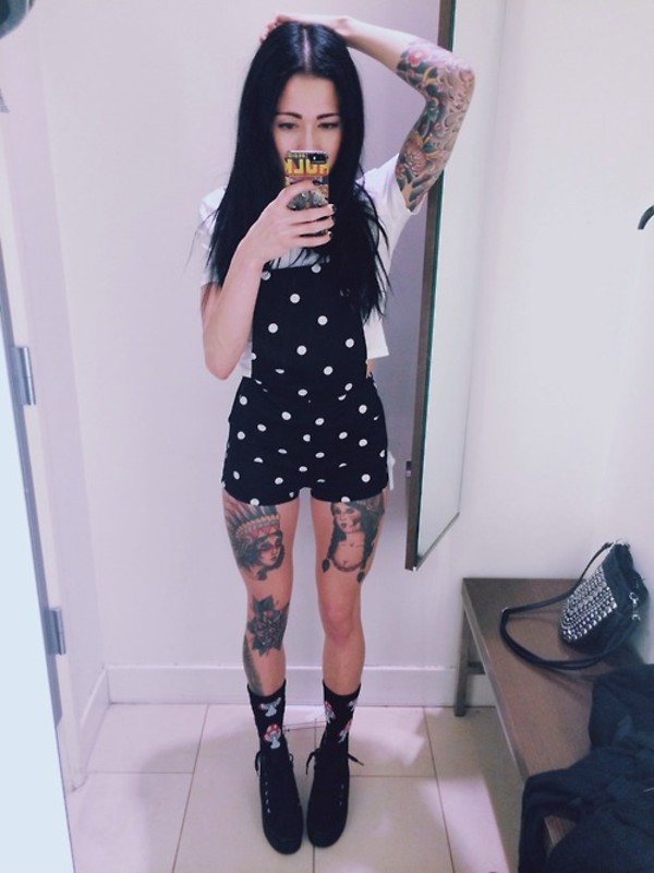 Shorts: black, white, polka dots, overalls, dungarees, black and ...