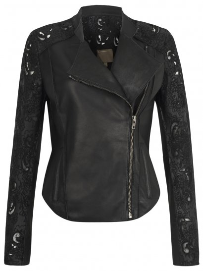 Muubaa Tureis Leather Laser-Cut Biker Jacket in Black
