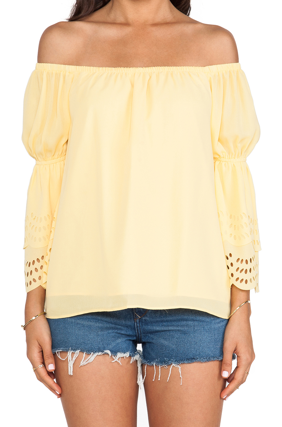 VAVA by Joy Han Celeste Off Shoulder Top in Yellow from REVOLVEclothing.com