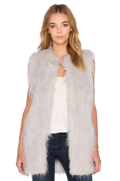 jacket vest long fur faux fur blue