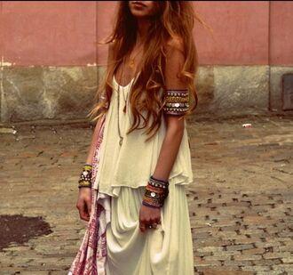 dress boho dress bohemian boho hippie gypsy jewels arm cuff armbands coins white colorful bold red street