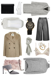 the fashion cuisine,blogger,shirt,scarf,winter outfits,grey sweater,winter coat,white shoes,watch,bag,t-shirt,coat,jewels,underwear,shoes
