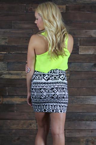Techno tribal mini skirt