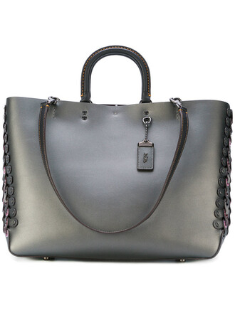 women leather grey bag