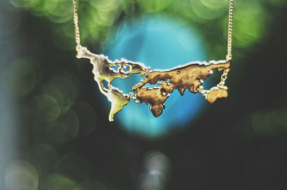 jewels necklace gold gold necklace world map