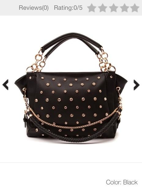 bag chained purse black studded bag studded leather purse leather bag