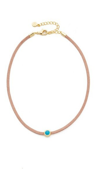necklace choker necklace tan gold turquoise jewels