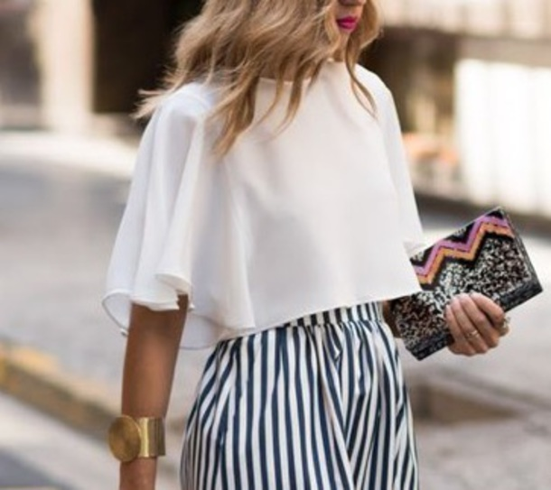4ea40486ec334b top, white, zara, elegant, white top, skirt, striped skirt, white ...