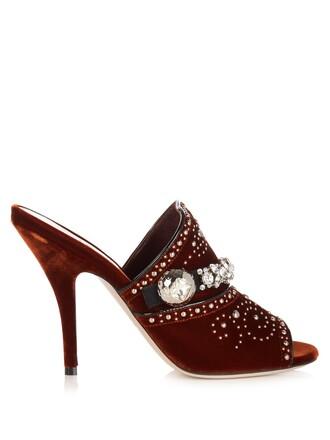 embellished mules velvet dark orange shoes