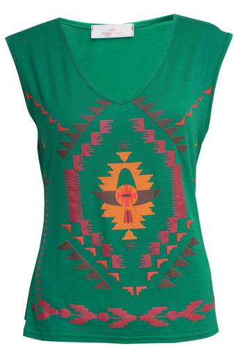 Ladies Joey Aztec Sleeveless V-Neck Top in Green | Pop Couture