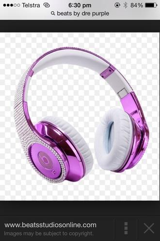 purple bling beats by dre technology headphones