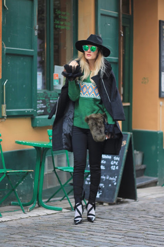 from brussels with love blogger sweater pants tights shoes bag coat hat green sweater winter outfits black coat black pants