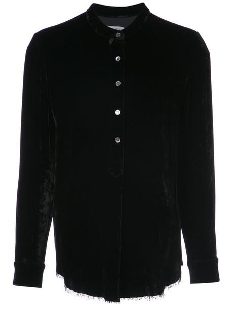 shirt collar shirt women cotton black silk top