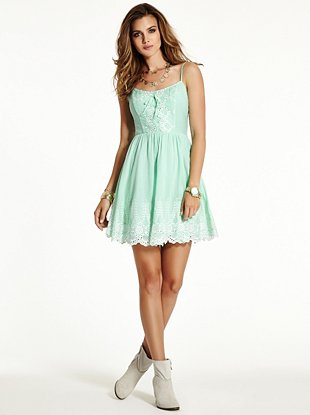 Sleeveless Embroidered Eyelet Dress  | GUESS.ca