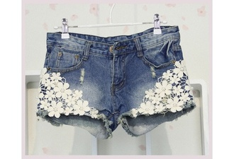 shorts flowers lace see through jeans hipster floral