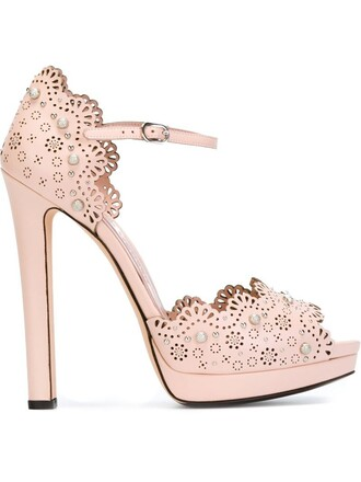 studded women laser cut sandals leather purple pink shoes