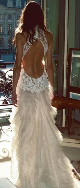 dress wedding dress lace wedding dress ruffle wedding dress open back wedding dress