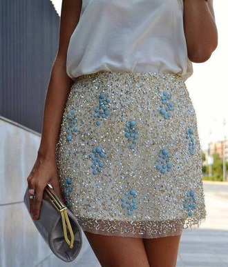 skirt blue gold sheer mini see through lace beaded diamonds prom