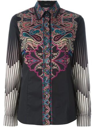 shirt button down shirt print paisley black top