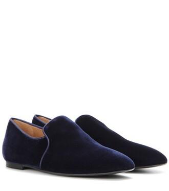 slippers velvet blue shoes