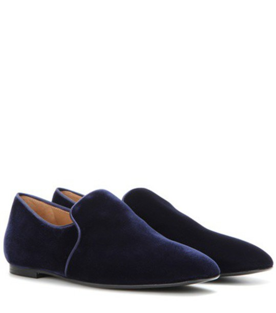 The Row Alys Velvet Slippers in blue