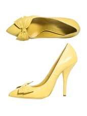 shoes,bow,date outfit,cute,girly,yellow,pointed toe pumps,high heels,adorable af