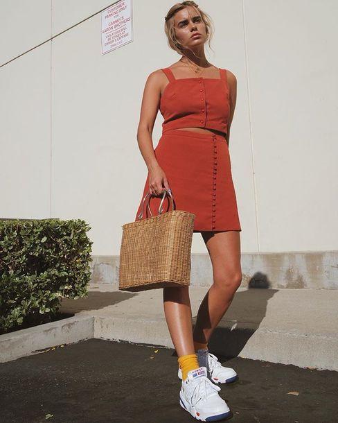skirt red skirt crop topr crop tops red crop top shoes trainers 2 piece skirt set