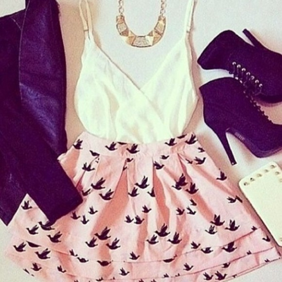white high heels cute black summer skirt birds pink necklace gold jacket sweet style