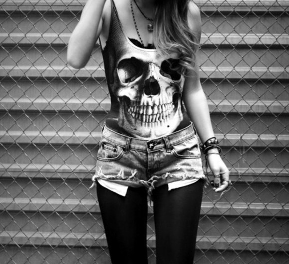 skull tank top tops t-shirt vest top black and white