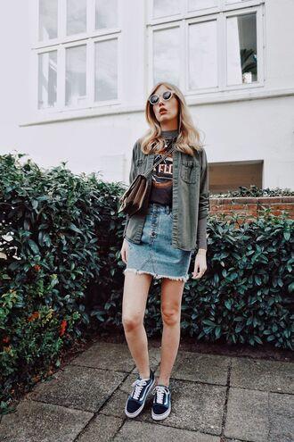 shoes black graphic shirt denim dress vans sunglasses army green jacket blogger