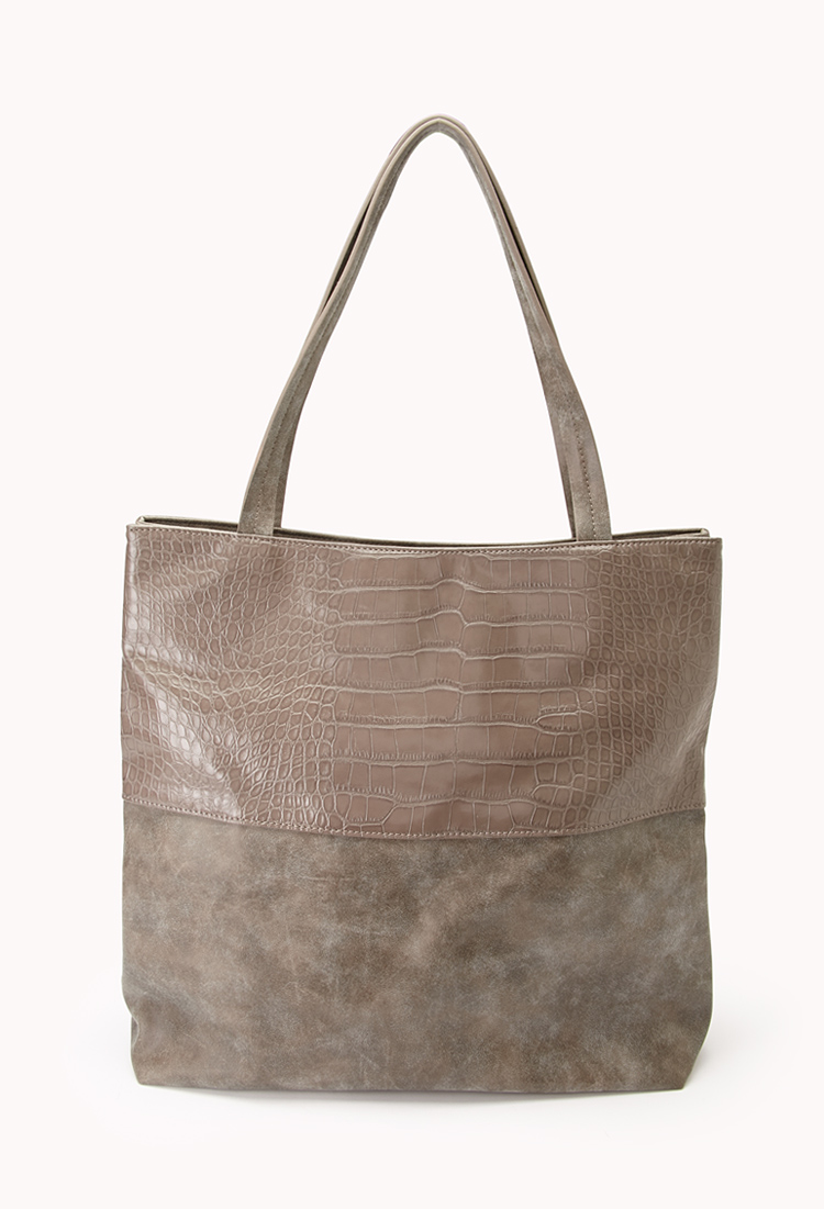 Luxe Faux Croc Panel Tote | FOREVER21 - 1000111665