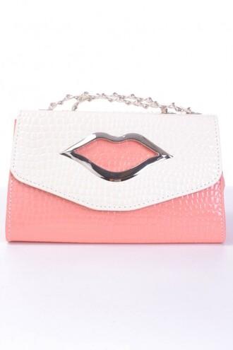 bag handbag clutch purse funny lips