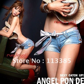 Free shipping /Low waist sexy shorts,Classical Detailed Women Side Bow Cutout Ripped Super Low Waist Short Jeans& Denim Jeans-in Jeans from Apparel & Accessories on Aliexpress.com