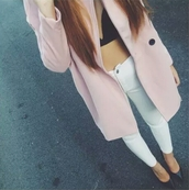 coat,large coat,oversized coat,pink coat,light pink coat,light pink,pink,cute coat,big coat,big coats,black bra,black bralette,white pants high waisted white,white pants,white jeans,white skinny jeans,high waisted jeans,cute,stylish,style,trendy,outfit idea,fashion,fashion inspo,blogger,fashionista,chill,pretty acacia,swag,gorgeous,tumblr outfit,tumblr,tumblr girl,on point clothing,jeans,lightpink,longcoat,winter coat