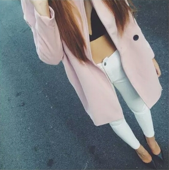coat large coat oversized coat pink coat light pink coat light pink pink cute coat big coat big coats black bra black bralette white pants high waisted white white pants white jeans white skinny jeans high waisted jeans cute stylish style trendy outfit idea fashion fashion inspo blogger fashionista chill pretty acacia swag gorgeous tumblr outfit tumblr tumblr girl on point clothing jeans lightpink longcoat winter coat