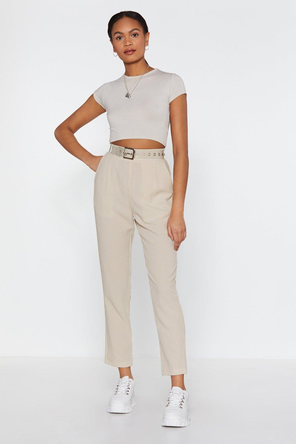 Better Late Than Taper Check High-Waisted Pants | Shop Clothes at Nasty Gal!