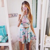 dress,summer,spring,top,skirt,white,blue,pink,green,violett,geometric,shirt,flowers,floral,teal,tie dye,shorts,tumblr,crop tops,romper,two-piece,pastel,short,floral romper