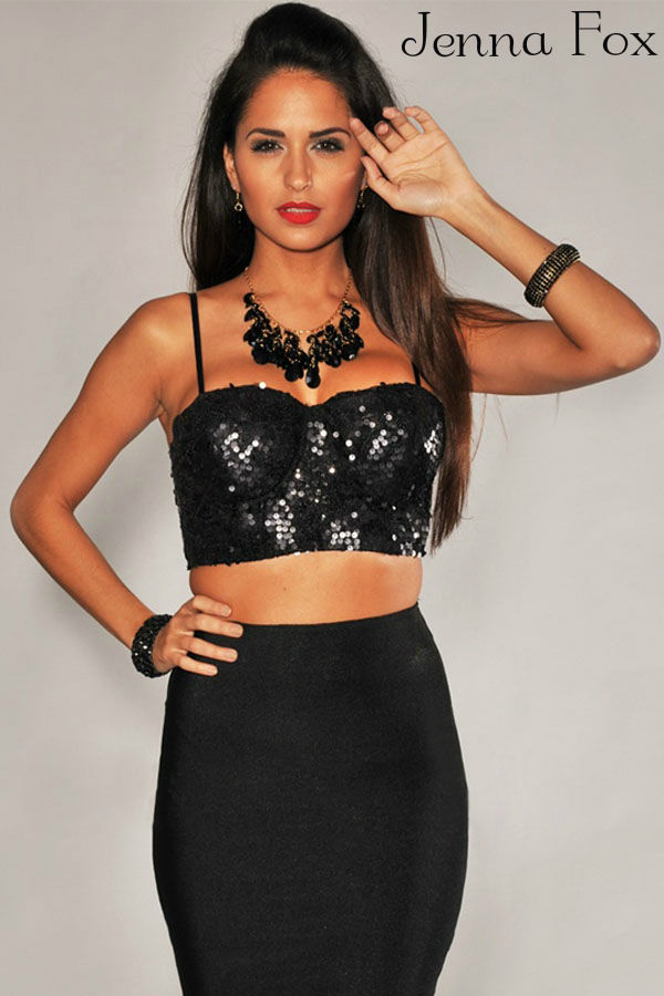 New chic crop top corset black sequine bustier party shirt sexy sparkling tank